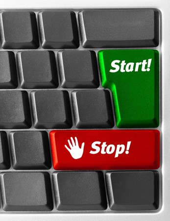 Close-up of Computer keyboard with Start and Stop key photo