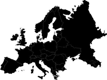 mapa europa: Mapa de vector de Europa abstracta sobre blanco