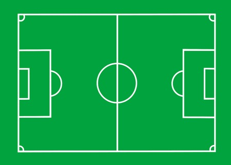Vector Soccer field with lines on green