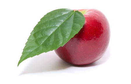 ripe fresh red apple with leaf isolated on white photo