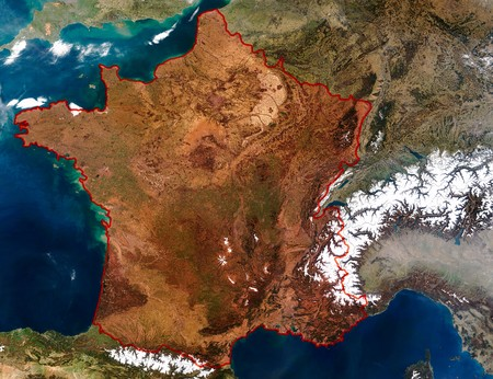 3D Relief Map of France. Data source: NASA photo
