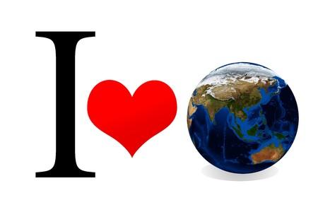 Concept: I love earth. Isolation on white. Data source: nasa. photo