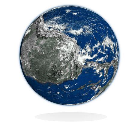 meridiano: 3d planeta desconocido en blanco. Fuente: NASA.