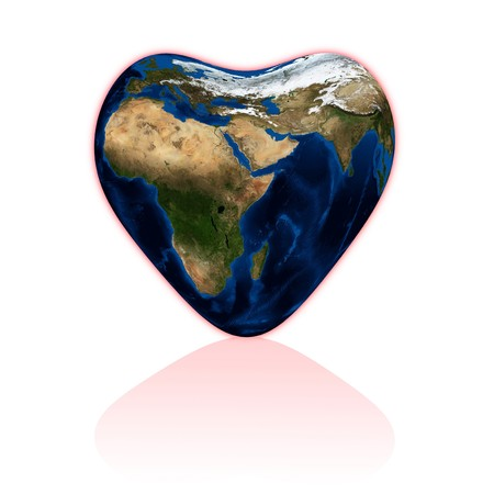 Earth in the form of heart on white. Data source: nasa. Stock Photo - 4297831
