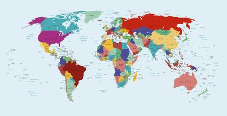 Vector political map of the world Stock Photo