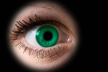 Close up of a woman green eye on black Stock Photo - 4297862