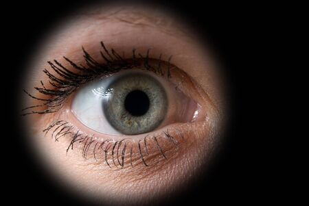Close up of a woman grey eye on black Stock Photo - 4297860