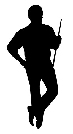 cue ball: Vector silhouette of man with cue