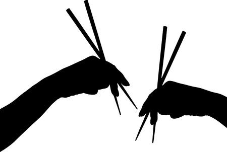 sushi: Vector illustratie van handen met chopstick