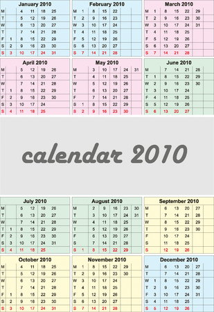 2010 color calendar. Can be used for you design Vector