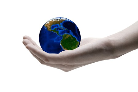 Earth in  hands on white background photo