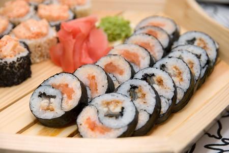 Set of sushi on wood plate. Stock Photo - 4377546