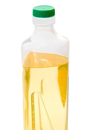 Bottle of sunflower oil isolated on the white photo