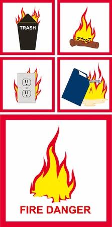 panneaux danger: Vector illustration du danger d'incendie signe