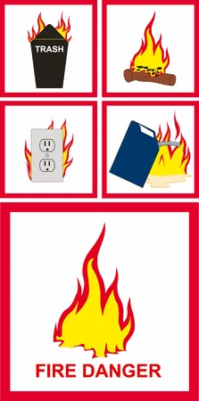 safety at work: Vector illustration of fire danger sign Illustration