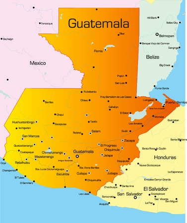 guatemala: Vector color map of guatemala country Illustration