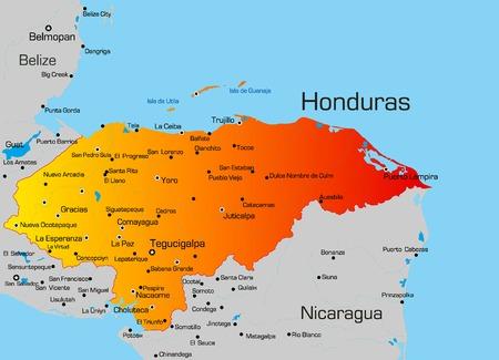 Nicaragua: Vector color map of Honduras country