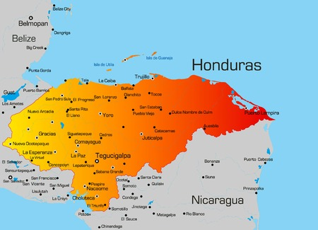 bandera honduras: Vector de mapa de color de Honduras, pa�s