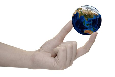Earth in hand on white background Stock Photo - 4420404