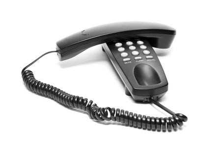 black office phone isolated on white background photo