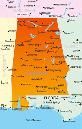Vector color map of Alabama state. Usa. Illustration