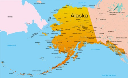 Vector color map of Alaska state. Usa. Vector