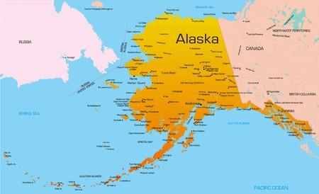 mapa politico: Vector de mapa de color estado de Alaska. EE.UU..
