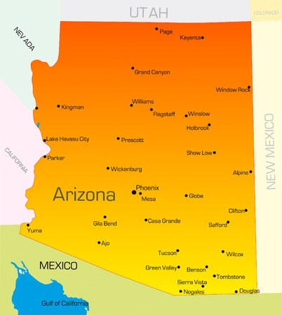Vector color map of Arizona state. Usa Vector