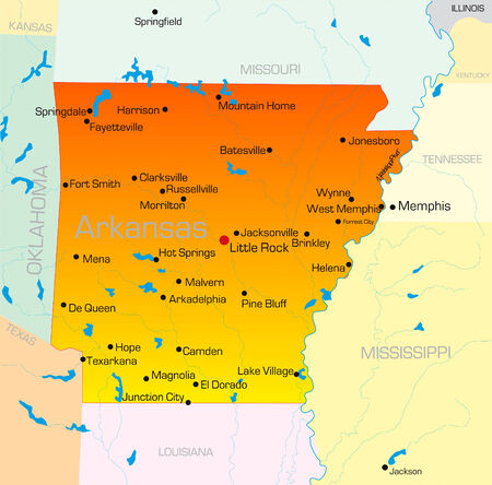 Vector color map of Arkansas state. Usa Vector