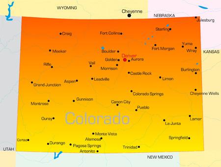 Денвер: Vector color map of Colorado state. Usa Иллюстрация