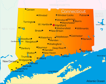 connecticut: Vector color map of Connecticut state. Usa