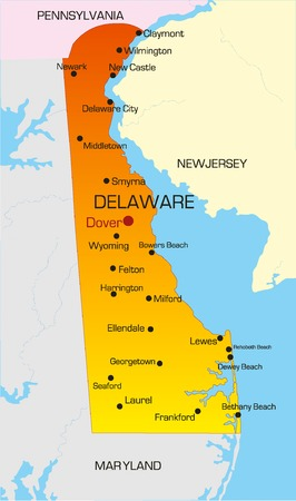 Vector color map of Delaware state. Usa Vector