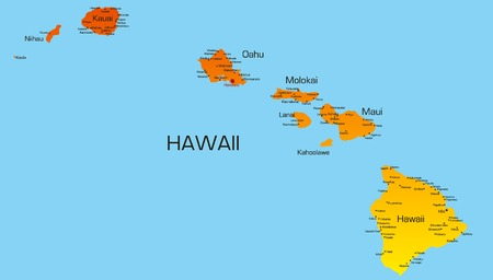 Vector color map of hawaii state. Usa Vector