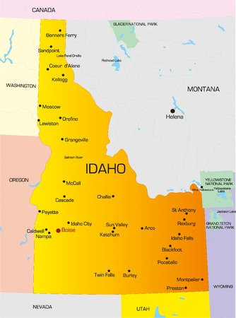 Vector color map of Idaho state. Usa Vector