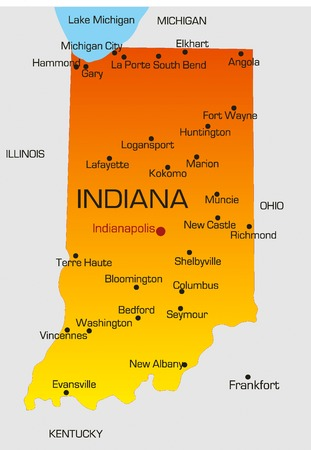 new york map: Vector color map of Indiana state. Usa