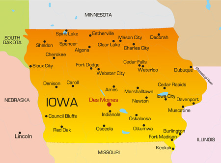 iowa: Vector color map of Iowa state. Usa