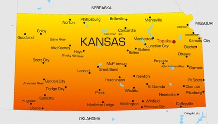 Vector color map of Kansas state. Usa Vector