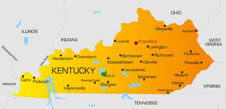 kentucky: Vector color map of Kentucky state. Usa