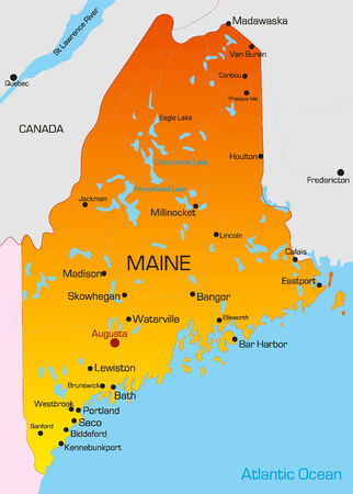 new york map: Vector color map of Maine state. Usa