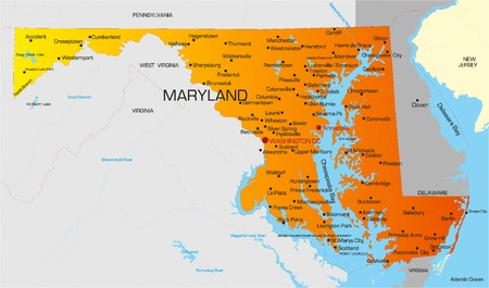 Vector color map of Maryland state. Usa Vector