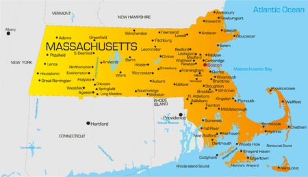 Vector color map of Massachusetts state. Usa Vector
