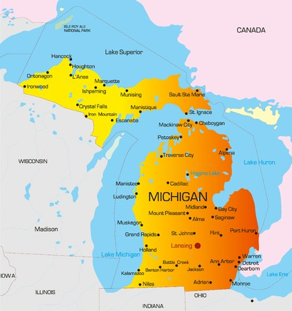 michigan: Vector color map of Michigan state. Usa