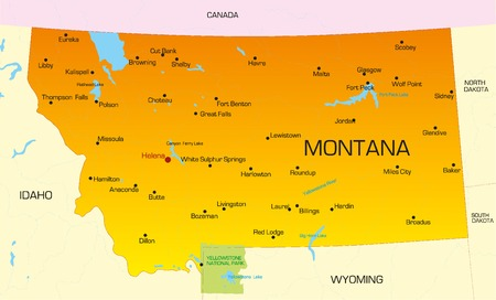 yellowstone: Vector color map of Montana state. Usa