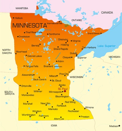 boundary: Vector color map of Minnesota state. Usa