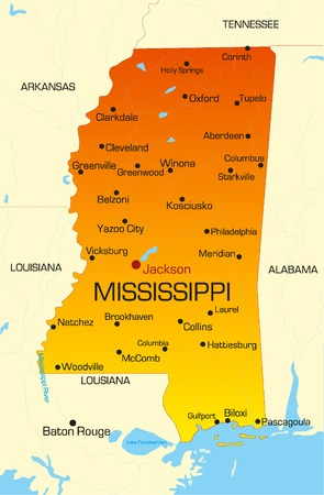 Vector color map of Mississippi state. Usa Vector