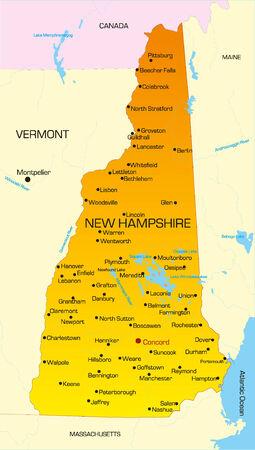 hampshire: Mapa de colores de vector del Estado de New Hampshire. Usa  Vectores