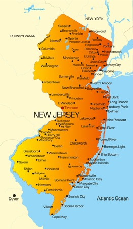 Vector color map of New Jersey state. Usa Illustration