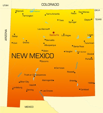 Vector color map of New Mexico state. Usa Vector