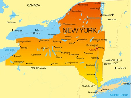 new york map: Vector color map of New York state. Usa