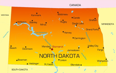 Vector color map of North Dakota state. Usa Vector